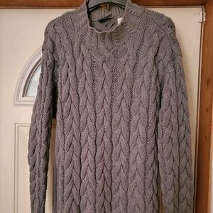 Gray cabled sweater